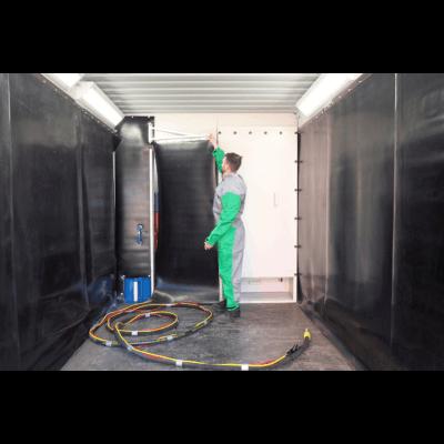 Swing door to blast room tool room